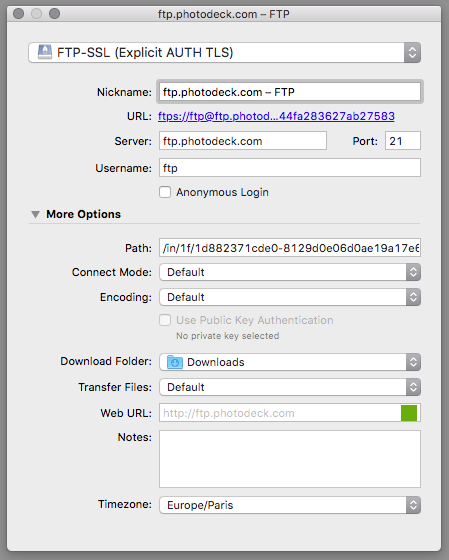 PhotoDeck Help : FTP upload